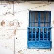 Old, blue, wood  window. Cuzco, Peru. — Foto de Stock