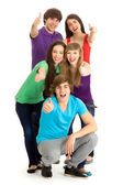 Young people with thumbs up — Foto de Stock