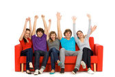 Group of excited friends — Stock Photo