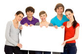 Friends Holding Blank Sign — Stock Photo