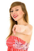Woman pointing at you — Stock Photo
