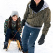 Man pulling woman on sled — Stock Photo #28195339