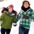 Stock Photo: Couple running in the snow