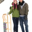 Couple standing in snow by sled — Stock Photo #28195561