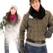 Couple having snowball fight — Foto Stock