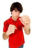 Young man in boxing pose — Stock Photo