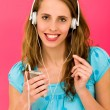 Young woman with MP3 player — Stock Photo