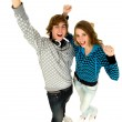 Couple with arms raised — Stock Photo #28203271