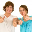 Young couple with thumbs up — Stock Photo #28203319