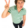 Man Making Peace Sign — Stock Photo