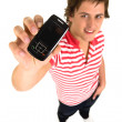 Young man with cell phone — Stockfoto