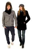 пара в зимней одежде — Стоковое фото