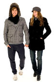 Couple in winter clothes — Stock Photo
