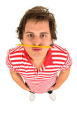Man with pencil under his nose — Stock Photo