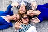 Friends waving hands — Stock Photo