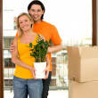 Couple in new home — Stock Photo