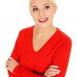 Woman with arms crossed — Stock Photo