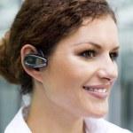 Businesswoman wearing headset — Stock Photo