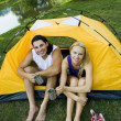 Couple in tent — Stock Photo