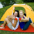Couple camping in tent — Stock Photo #28269895