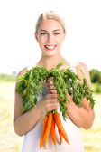 Woman holding bunch of carrots — Stock Photo