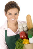 Shop Assistant Holding Grocery Bag — Stock Photo