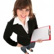 Woman holding clipboard — Stock Photo #28273519