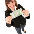 Woman Holding Banknote — Stock Photo