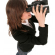 Businesswoman holding binoculars — Stock Photo #28273575