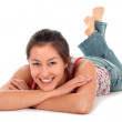 Young woman lying down — Stock Photo