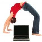 Woman bending over backwards — Stock Photo