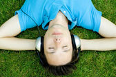 Young Man Enjoying Music — Stock Photo