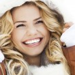 Young woman in a furry hood — Stock Photo