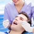 Female dentist and patient in dentist office — Stockfoto