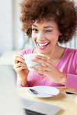 Woman and cup of tea — Stock Photo