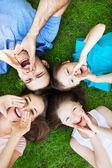 Family on grass shouting — Stock Photo