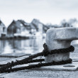 Stock Photo: Tied down (Bollard on dock)