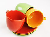 Collection of colorful dishes — Stock Photo
