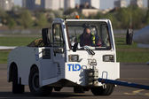 Pushback tractor in the airport — Stock Photo
