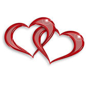 Two entwined hearts — Stock Photo