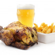 Stock Photo: Roasted chicken with french fries and light beer