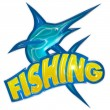 Fishing badge with swordfish — Stock Photo