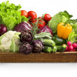 Stock Photo: Wicker basket of fresh vegetables