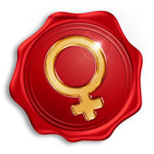 Sealing wax with the symbol of the female gender — Stock Photo