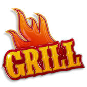 Hot grill label isolated on white background — Stock Photo