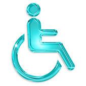 Blue disabled symbol isolated on white background — Stock Photo