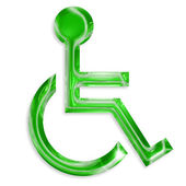 Green disabled symbol isolated on white background — Stock Photo
