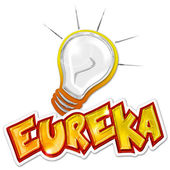 Eureka word and light bulb on white background — Stock Photo
