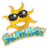 Illustration of summertime isolated on white background — Stock Photo