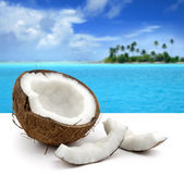 Coconut on white background and beautiful seascape — Stock Photo